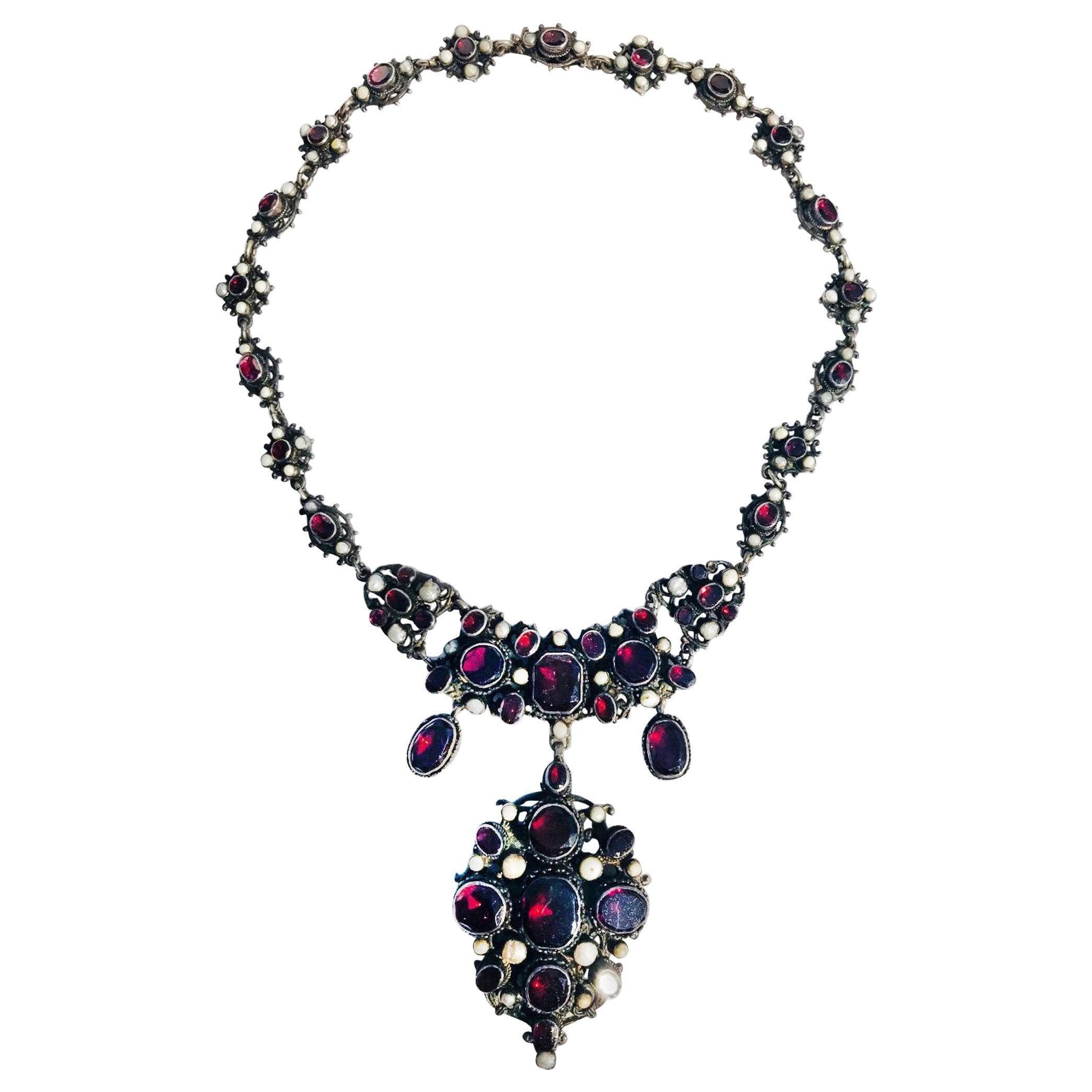 Victorian English Bib Necklace Garnets with Pearl Accents, circa 1870