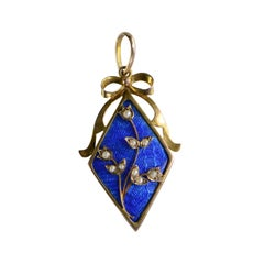 Victorian English Blue Enamel Seed Pearl Gold Pendant