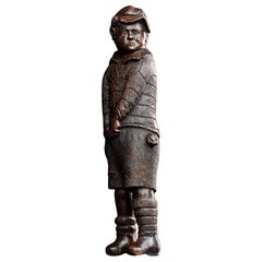 Victorian English Carved Oak Folk Art Figure of a Crying Boy