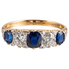 Victorian English Carved Sapphire and Diamond Ring