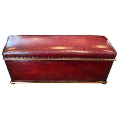 Victorian English Grade 1 Red Leather Ottoman, circa 1885
