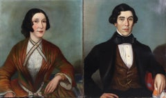 19th Century English Pair of Oil Paintings - Portraits of Husband & Wife Couple