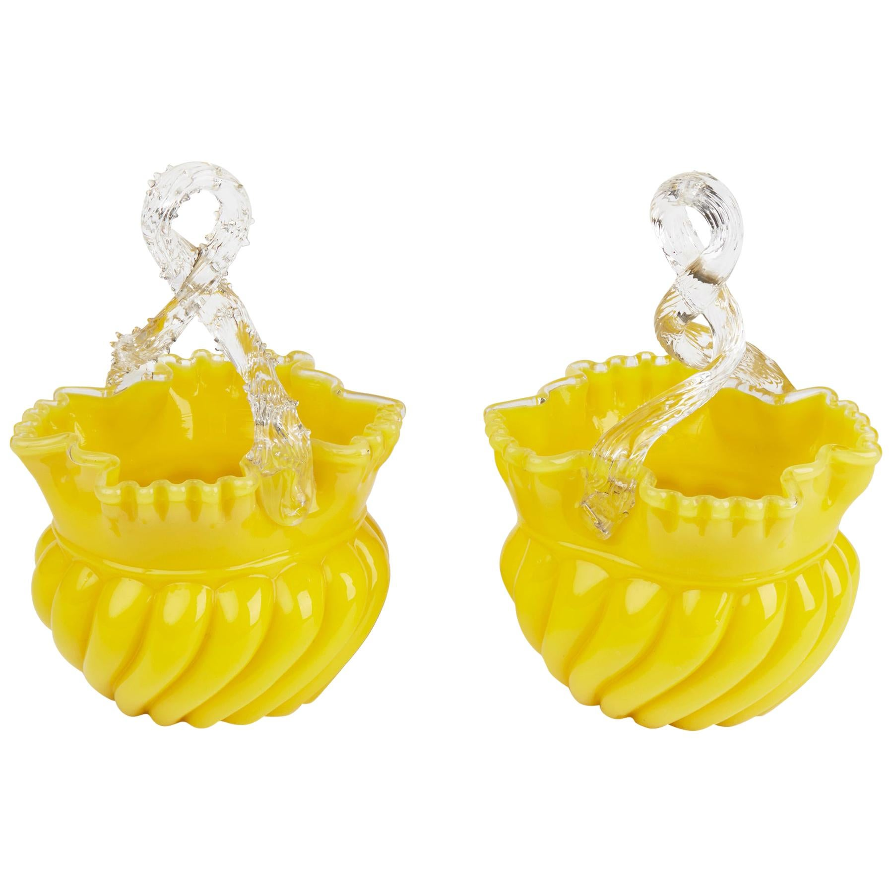 Victorian English Pair of Yellow Glass Handled Posy Baskets