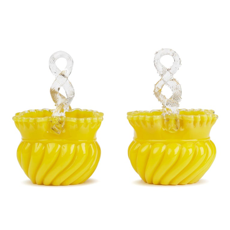 Hand-Crafted Victorian English Pair of Yellow Glass Handled Posy Baskets For Sale