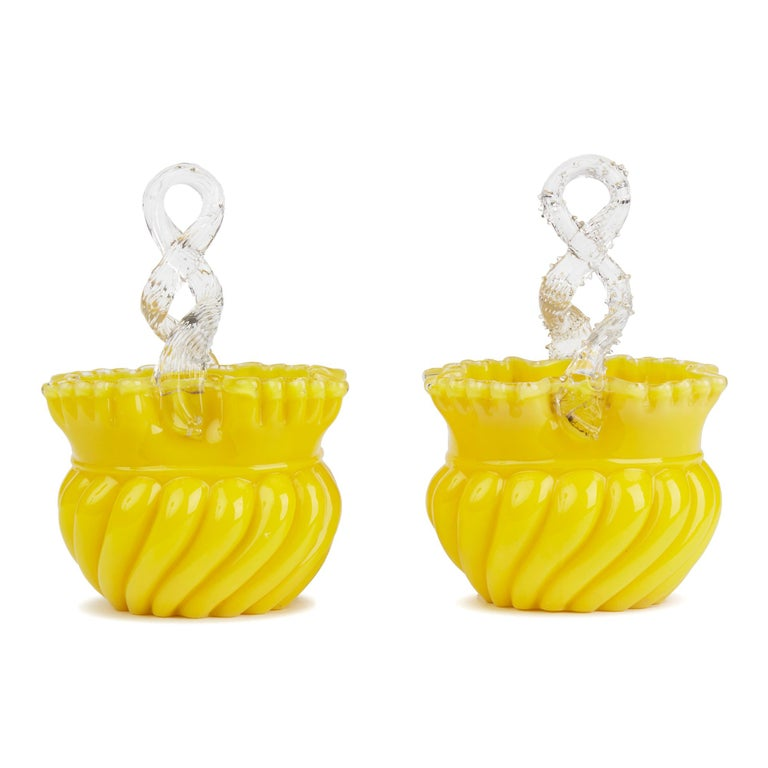 Late 19th Century Victorian English Pair of Yellow Glass Handled Posy Baskets For Sale