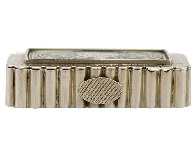 Great Britain (UK) Victorian English Sterling Silver and Enamel Vesta Box For Sale