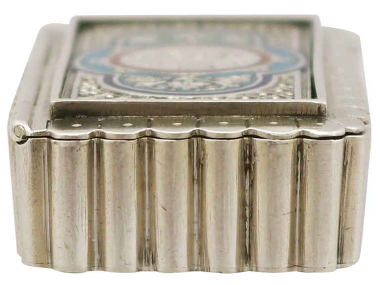 Victorian English Sterling Silver and Enamel Vesta Box For Sale 2