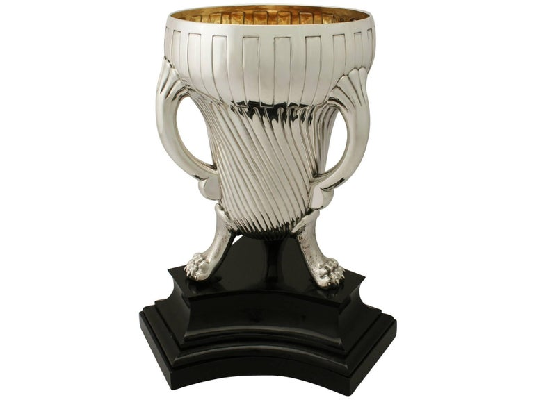 Painted Victorian English Sterling Silver Champagne Cup For Sale