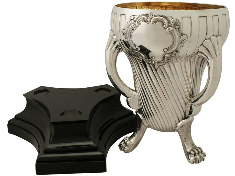 Wood Victorian English Sterling Silver Champagne Cup For Sale