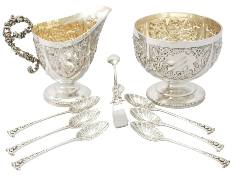 An exceptional, fine and impressive antique Victorian English sterling silver cream jug and sugar presentation set - boxed; an addition to our antique teaware collection.