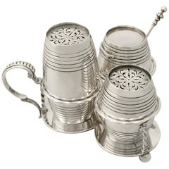 Victorian English Sterling Silver Cruet Set by George Fox, 1864