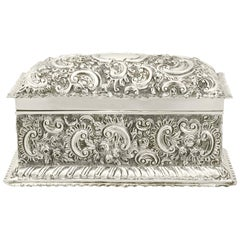 Victorian English Sterling Silver Jewelry Casket