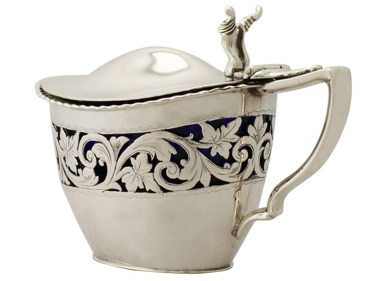 19th Century Victorian English Sterling Silver Mustard Pot 1896 In Excellent Condition For Sale In Jesmond, Newcastle Upon Tyne