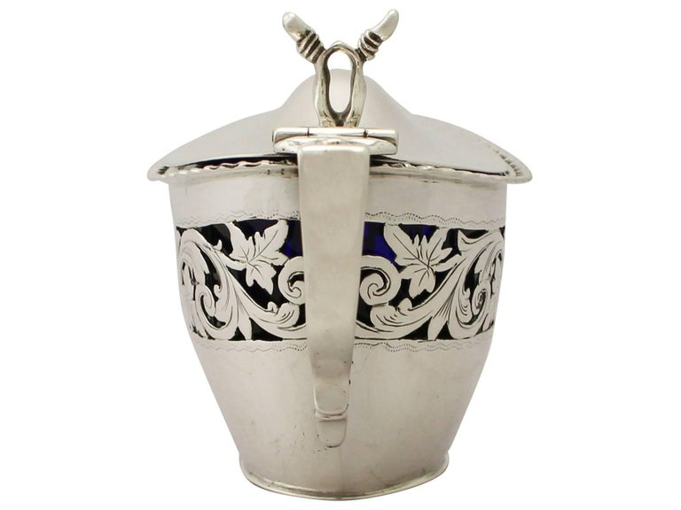 Late 19th Century 19th Century Victorian English Sterling Silver Mustard Pot 1896 For Sale