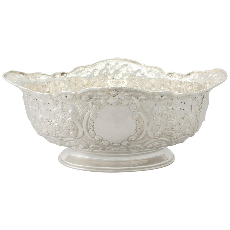 Victorian English Sterling Silver Presentation Bowl For Sale