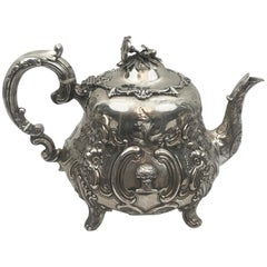 Victorian English Sterling Silver Repousse Teapot, London 1855, William Hunter