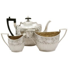 Victorian English Sterling Silver Three-Piece Tea Set