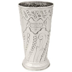Victorian English Sterling Silver Vase, 1887