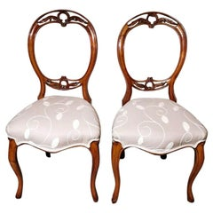 Victorian English Walnut Pair of Chairs With Balloon Back