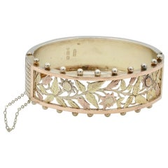 Victorian Engraved 14 Karat Gold and Sterling Silver Cuff Bracelet