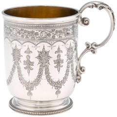 Victorian Engraved Antique Sterling Silver Christening Mug from 1872