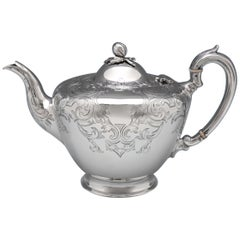 Victorian Engraved Antique Sterling Silver Teapot London 1850 Burrows & Pearce