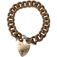 Victorian Engraved Link Bracelet Heart Clasp Gold