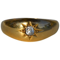 Victorian Era .11 Carat Minecut Diamond 18 Karat Gold Gypsy Set Ring