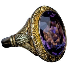 Victorian Era Antique Chased Gold Amethyst Unisex Ring