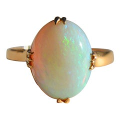 Victorian Era Antique Opal 4 Carat 18 Karat Rose Gold Solitaire Ring