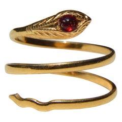 Victorian Era Antique Vintage 18 Karat Gold Snake Wrap Ring