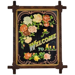 Victorian Era Chromolithograph a Welcome to All Motto in Adirondack Wood Frame