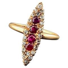 Victorian Era Diamond and Ruby Ring in 14 Karat Yellow Gold