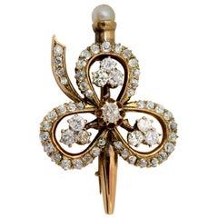 Victorian Era Diamond Gold Clover Brooch