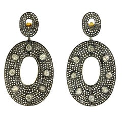 Victorian Era inspired RoseCut Diamond & Pave Diamond Earring in Gold and Silver
