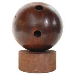 Victorian Era Lignum Vitae Bowling Ball on Stand