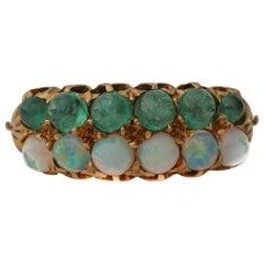 Victorian Era Opal and Emerald Double Row 18 Karat Band Ring