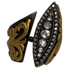 Victorian Era Oxidized Silver and 18 Karat Gold Handcrafted Statement Ring