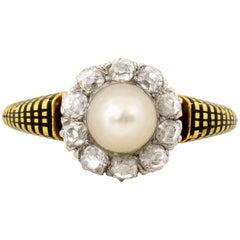 Victorian Era Pearl Diamond 18 Karat Gold Ring