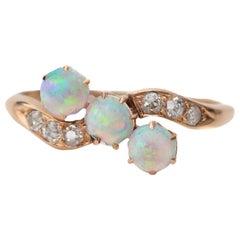 Victorian Era Triple Opal and Diamond Rose Gold Ring