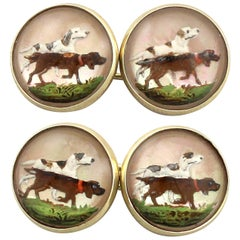 Victorian Essex Crystal and Yellow Gold Dog Cufflinks