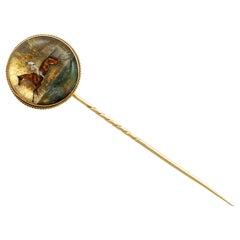 Victorian Essex Crystal Yellow Gold Stickpin Brooch
