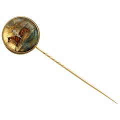 Victorian Essex Crystal Yellow Gold Stickpin Brooch