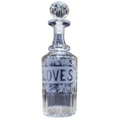 Victorian Etched Crystal Cloves Decanter