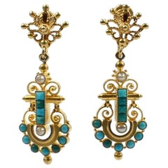 Victorian Etruscan 14 Karat Gold, Turquoise and Pearl Clip-On Earrings