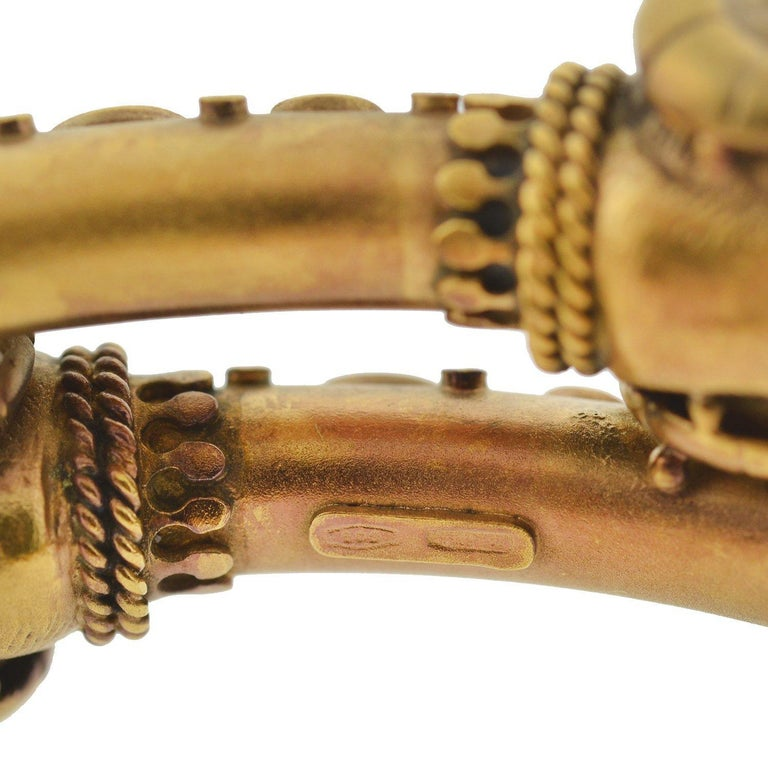 Victorian Etruscan Double Ram's Head Bypass Bracelet For Sale 4