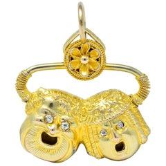 Victorian Etruscan Revival 14 Karat Gold Comedy Tragedy Charm Pendant