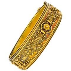 Victorian Etruscan Revival 18 Karat Gold Floral Bangle Bracelet, circa 1870