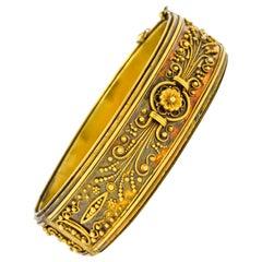 Victorian Etruscan Revival 14 Karat Gold Floral Bangle Bracelet, circa 1870