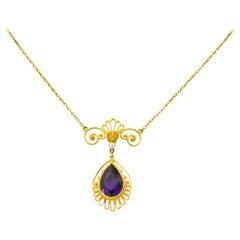 Victorian Etruscan Revival 3.50 Carat Amethyst Pearl 14 Karat Gold Necklace